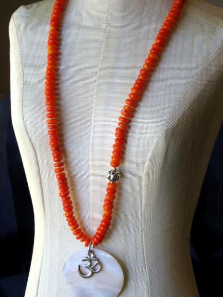 "Orange Coral ""Ohm"" Necklace"