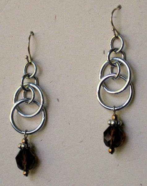 Aluminum Chainmaille and Glass Earrings