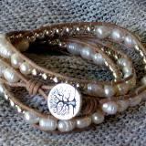 Pearls and Silver Triple Wrap Bracelet