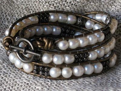 Black and Pearl Triple Wrap Bracelet