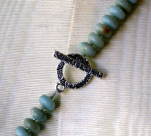 Amazonite Necklace with Ceramic Pendant