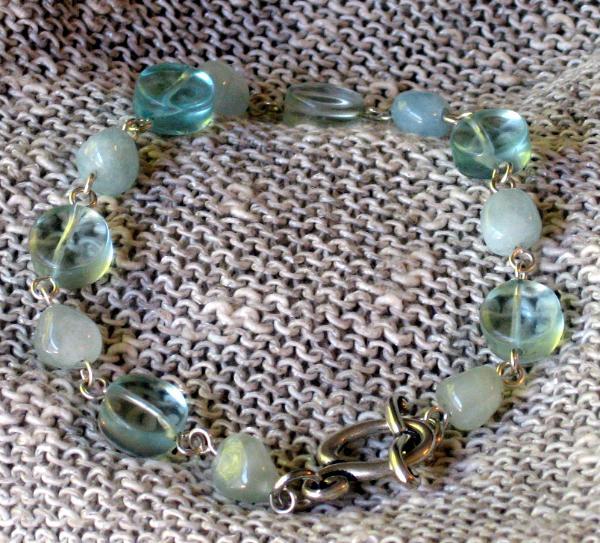 Aquamarine and Glass Links Necklace
