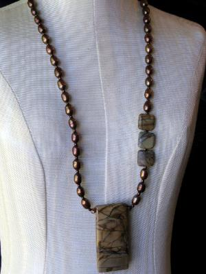 Picasso Jasper and Pearl Necklace