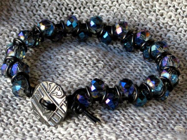 Black and Blue Crystal Leather Bracelet