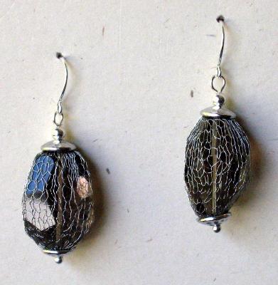 Meshed Smokey Quartz Earrings
