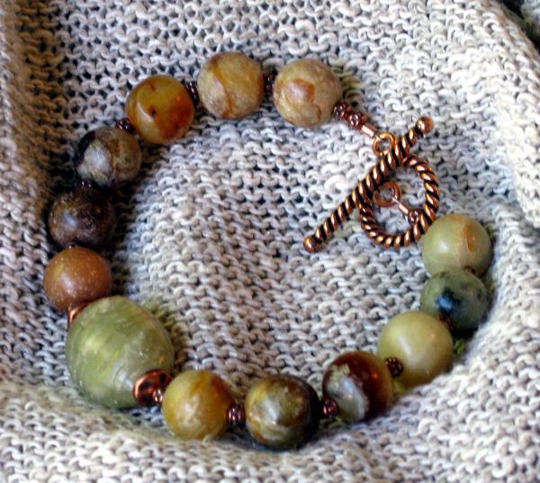 Serpentine and Copper Bracelet