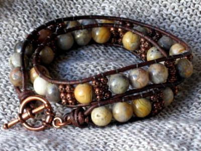 Crazy Lace Agate Copper Wrap Bracelet