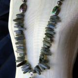 Labradorite and Pearl Necklace with Abalone Pendant