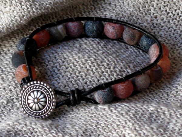 Cracked Agate Leather Bracelet