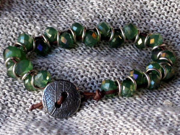 Green Crystal Leather Bracelet