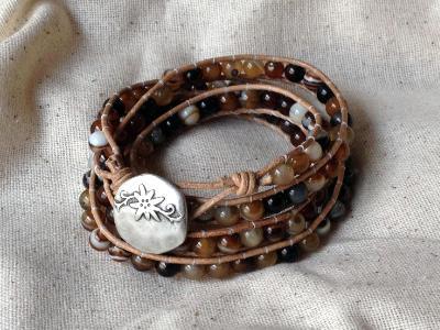 Botswana Agate Quadruple Wrap Bracelet