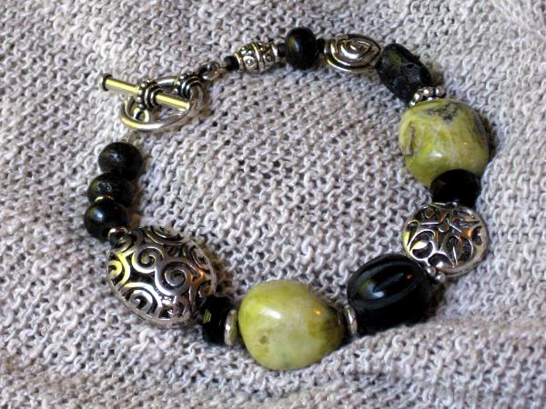 Green Turquoise and Black Bracelet