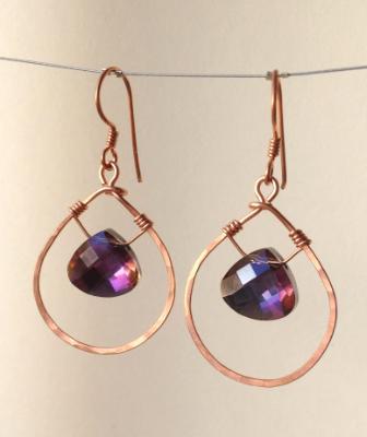 Copper Crystal Briolette Earrings