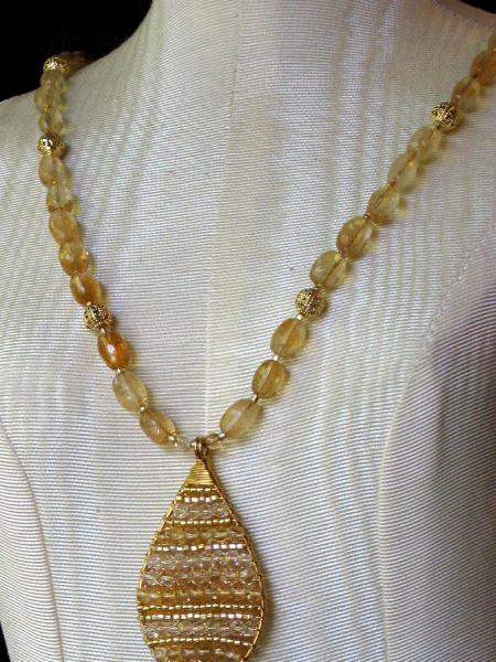 Golden Citrine Weave Necklace