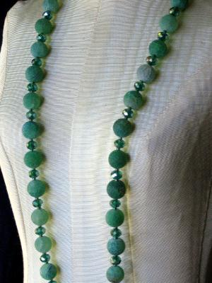 Frosted Green Cracked Agate Necklace