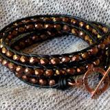 Copper Crystal Triple Wrap Bracelet