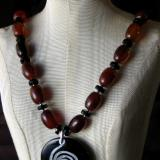 Carnelian and Black Glass Necklace