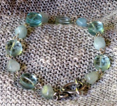 Aquamarine and Glass Links Bracelet