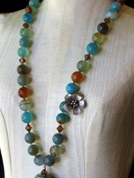 Blue and Brown Agate Necklace