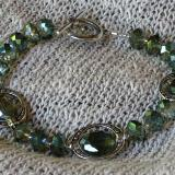 Green Framed Crystals Bracelet